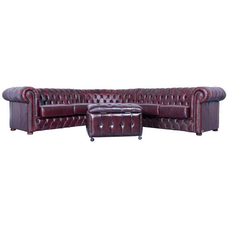 Rochester Chesterfield Corner Sofa And Footstool Oxblood Red Leather Couch Set For