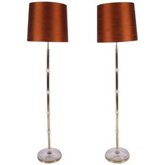 Pair of Mid-20th Century French Brass Floor Lamps