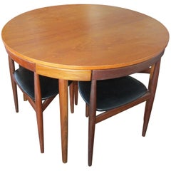 Rare Hans Olsen Teak Table with Four Chairs That Tuck under Table