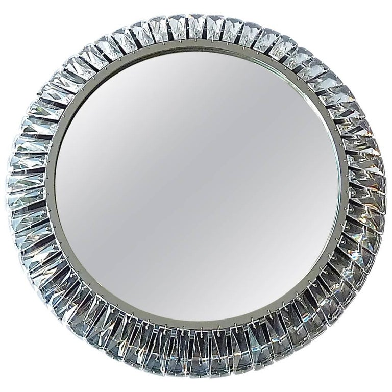 Precious Round Illuminated Palwa Wall Mirror Chrome Faceted Crystal Glass Signed