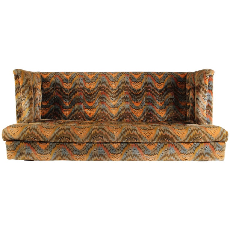 Milo Baughman for Thayer Coggin Shelter Sofa with Treasure Chest Ottomans