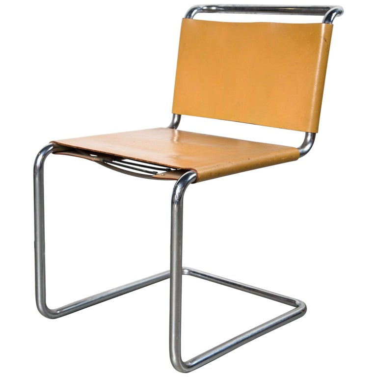 Vintage Leather Marcel Breuer Chrome Chairs For Sale
