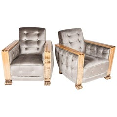 Pair of Stain Birch Art Deco Armchairs
