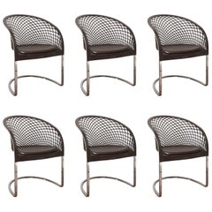 Set of Six Chrome and Leather Matteo Grassi Dining Chairs, 1970s