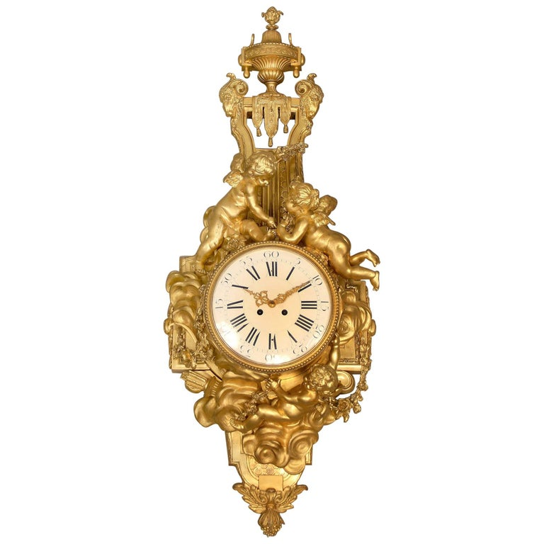 Unique Late 19th-Early 20th Century Gilt Bronze Cartel Clock by François Linke For Sale