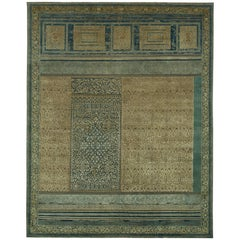 """Aab Shar"" Blue Green Hand-Knotted Area Rug"