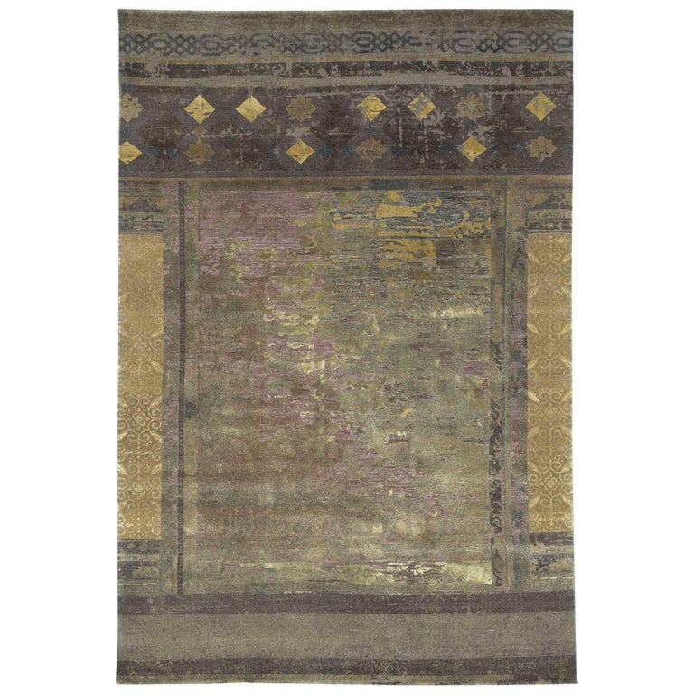 """""""Urban Maze"""" Blue Gold Hand-Knotted Area Rug For Sale"""