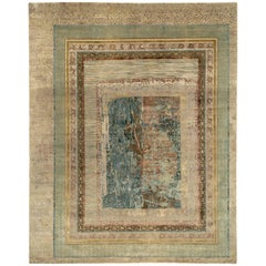 """Sunset Synapses"" Green Gold Hand-Knotted Area Rug"