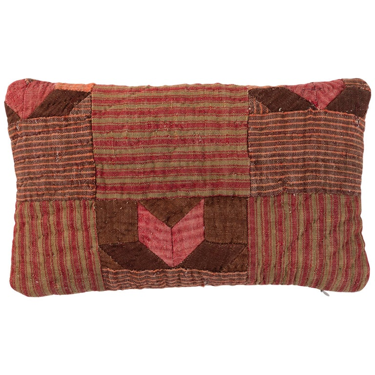 19th Century French Linen Quilted Pillow  For Sale