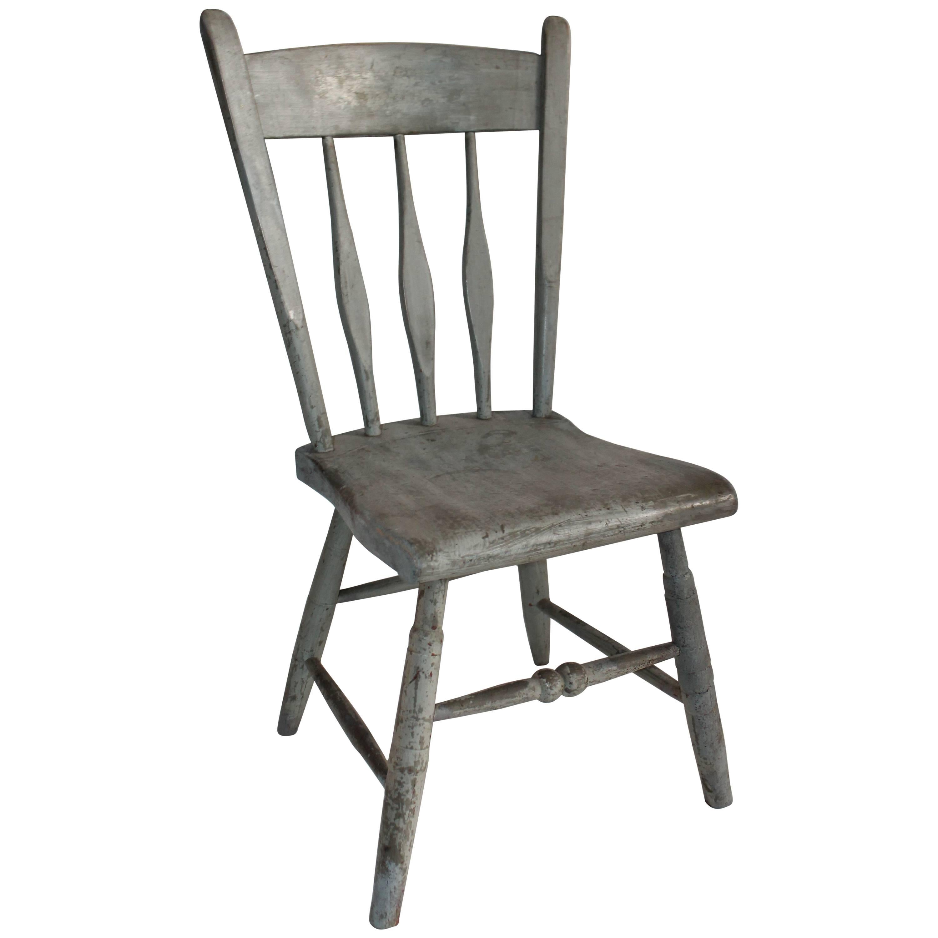 19th Century Original Painted New England Windor Childs Chair