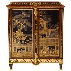 French Louis XVI Style Gilt Bronze-Mounted Mahogany Chinese Lacquered Cabinet