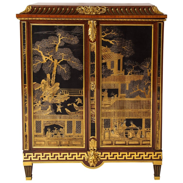 French Louis XVI Style Gilt Bronze-Mounted Mahogany Chinese Lacquered Cabinet For Sale