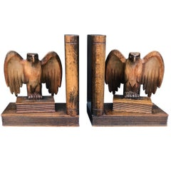 Rare Early 1900s Hand-Carved Solid Wood Pair of Winged American Eagle Bookends