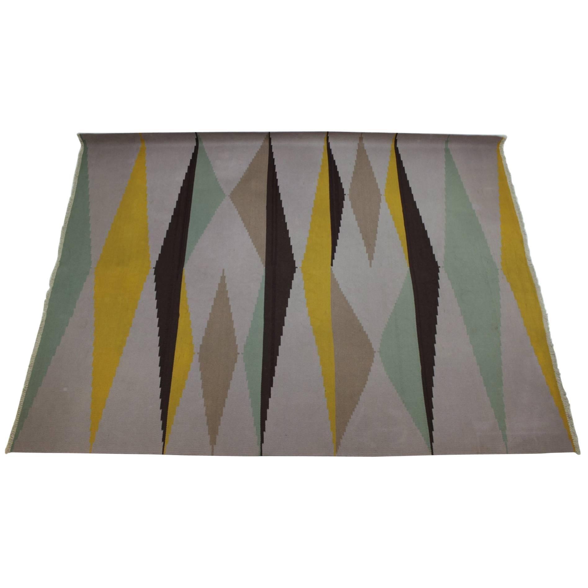 Big Modernist Geometric Kilim Carpet, A. Kybal