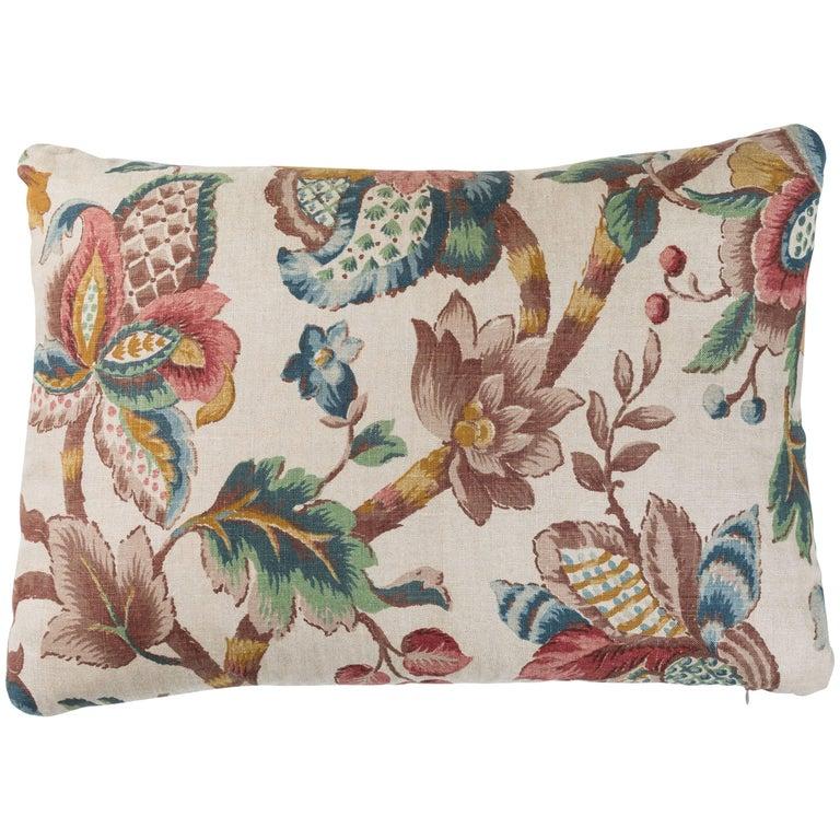 Vintage Linen Floral Pillow  For Sale