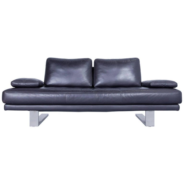 Rolf Benz 6600 Sofa Designer Leather Aubergine Black Two