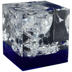 Lucite Cube with Exploded Shattered Wine Glass