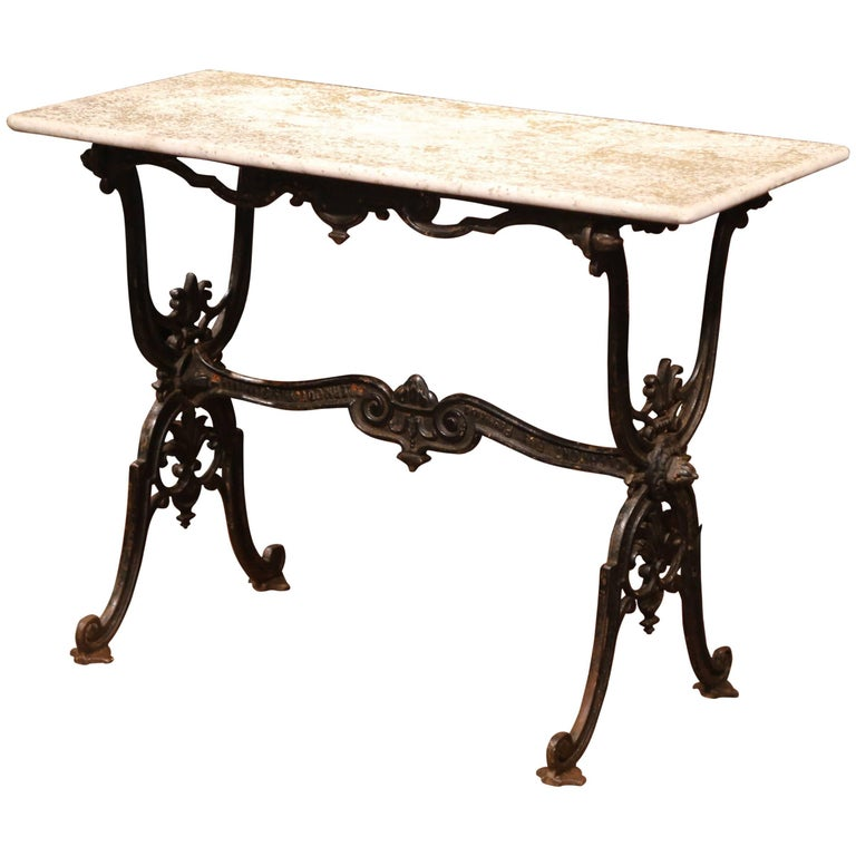 19th Century French Black Iron Bistrot Table with Original Weathered Marble Top