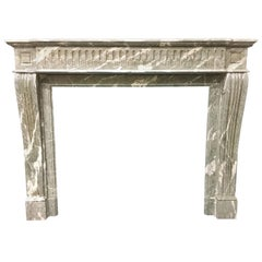Antique French Louis XVI Empire Marble Fireplace Surround