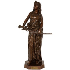 "Large Patinated Bronze Sculpture of ""Salome"" by Charles Octave Levy"