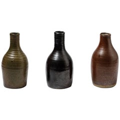 Beautiful Set of Three Bottles or Vases by Norbert Pierlot French Ceramic, 1950