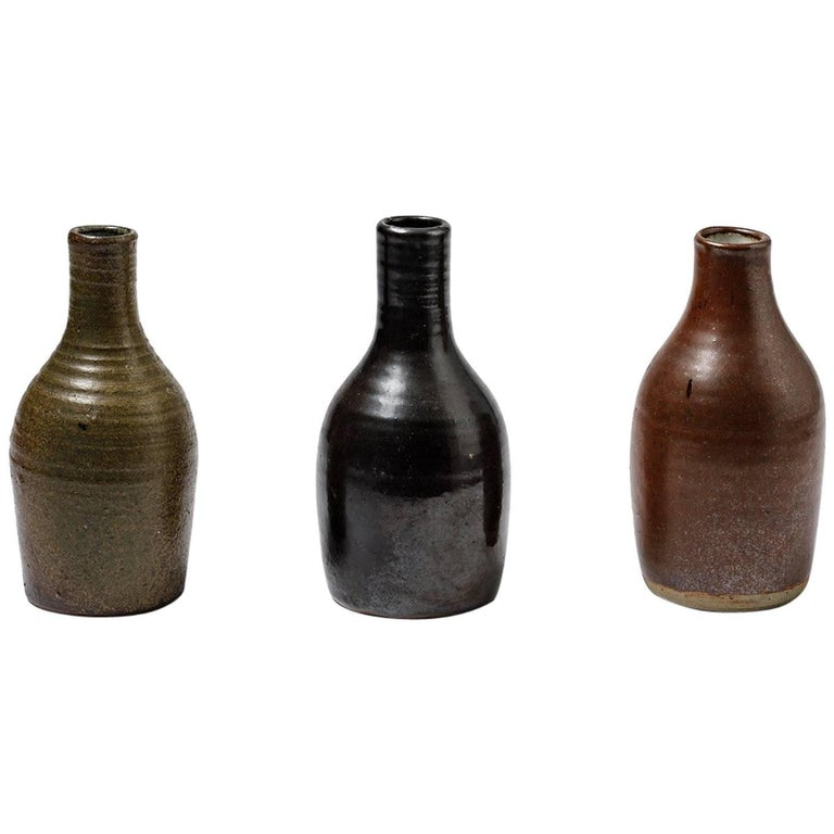 Beautiful Set of Three Bottles or Vases by Norbert Pierlot French Ceramic, 1950 For Sale