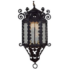 Italian Wrought Iron, Metal, and Glass Baroque Style Lantern, 19th Century