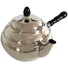 Georg Jensen Sterling Silver Tea Pot with Ebony Handle #1A