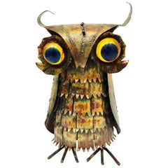 1970s Brutalist Metal Owl Sculpture in the Style of Curtis Jere
