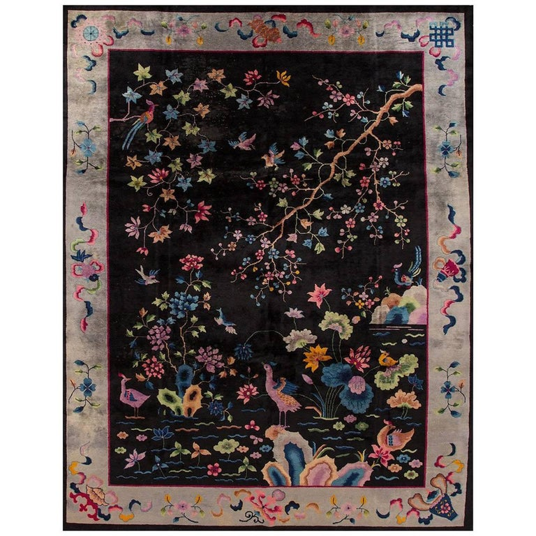 Distressed 1920s Black Silver Chinese Art Deco Rug For Sale At 1stdibs