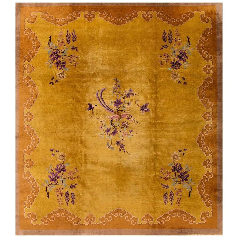 1920s Vintage Square Gold Or Purple Chinese Art Deco Rug