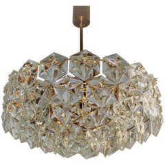 Large Kinkeldey Chandelier Royal Hexagonal Crystal and Gilt Brass, 1960s