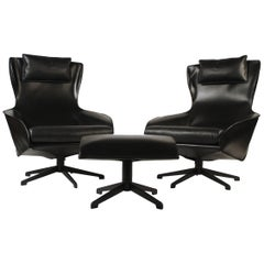 Pair of Mario Bellini Model 423 Cab Lounge Chairs with swivel ottoman by Cassina