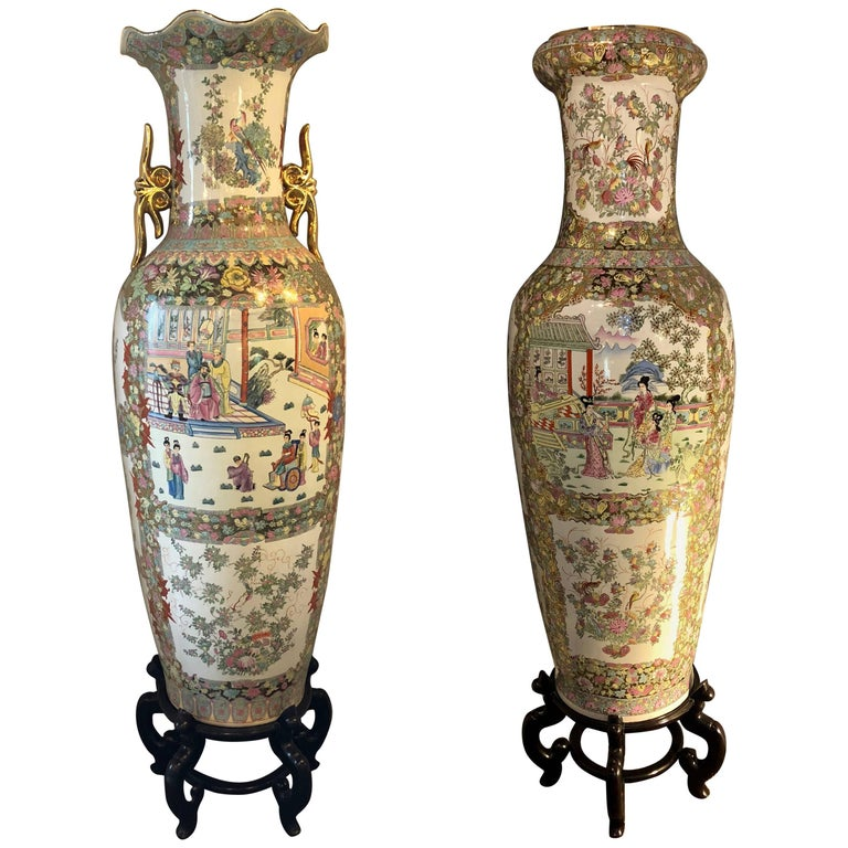 Pair Of Compatible Monumental Oriental Vases On Teak Stands For Sale