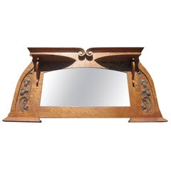 Art Nouveau Period American Oak Overmantel