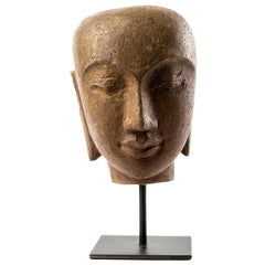 Contemporary River Stone Carved Buddha Head from Indonesia