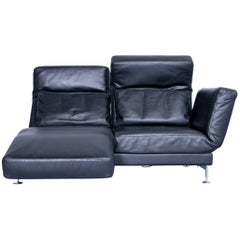 Brühl & Sippold Moule Designer Leather Sofa Black Two-Seat Function Couch Modern