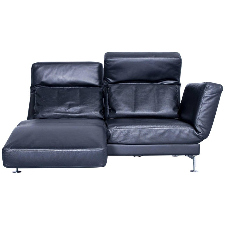 br hl and sippold moule designer leather sofa black two seat function couch modern at 1stdibs. Black Bedroom Furniture Sets. Home Design Ideas