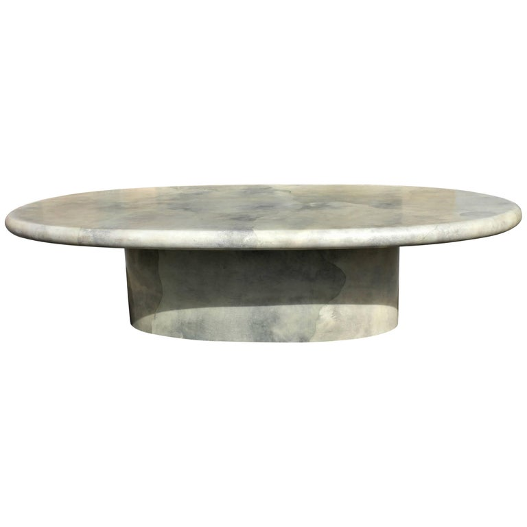 Monumental Midcentury Dining Table Goat Skin by Aldo Tura, circa 1970s