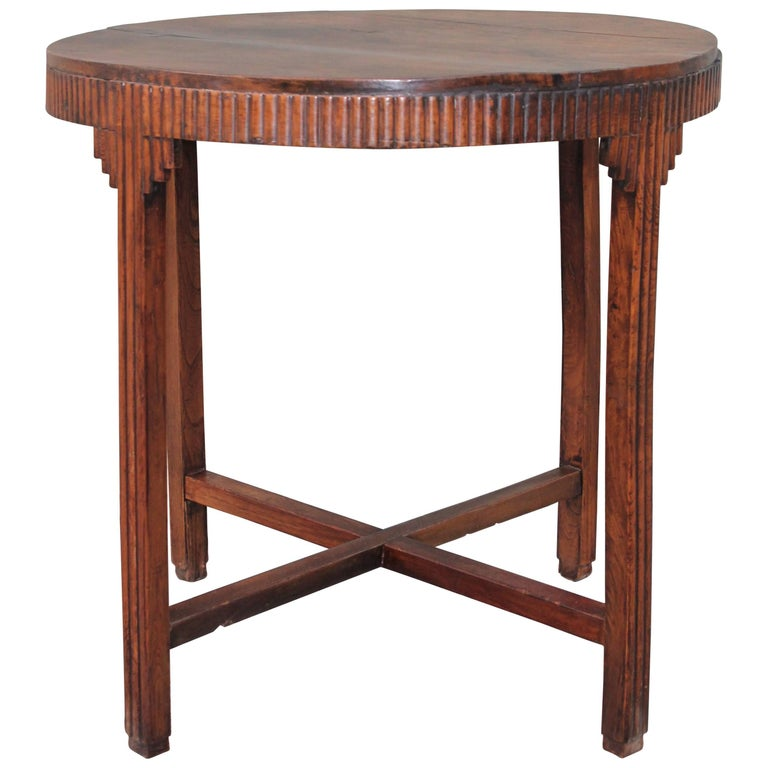 Folky Round Side Table with Twig Trim