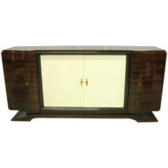French Art Deco Macassar Sideboard or Bar with Parchment by Maurice Rinck