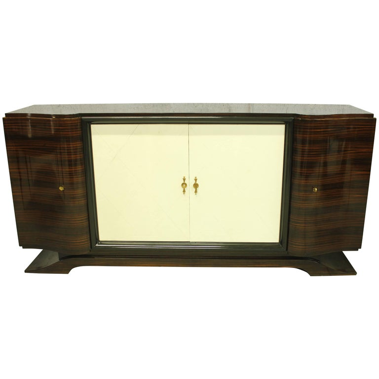 French Art Deco Macassar Sideboard or Bar with Parchment by Maurice Rinck For Sale