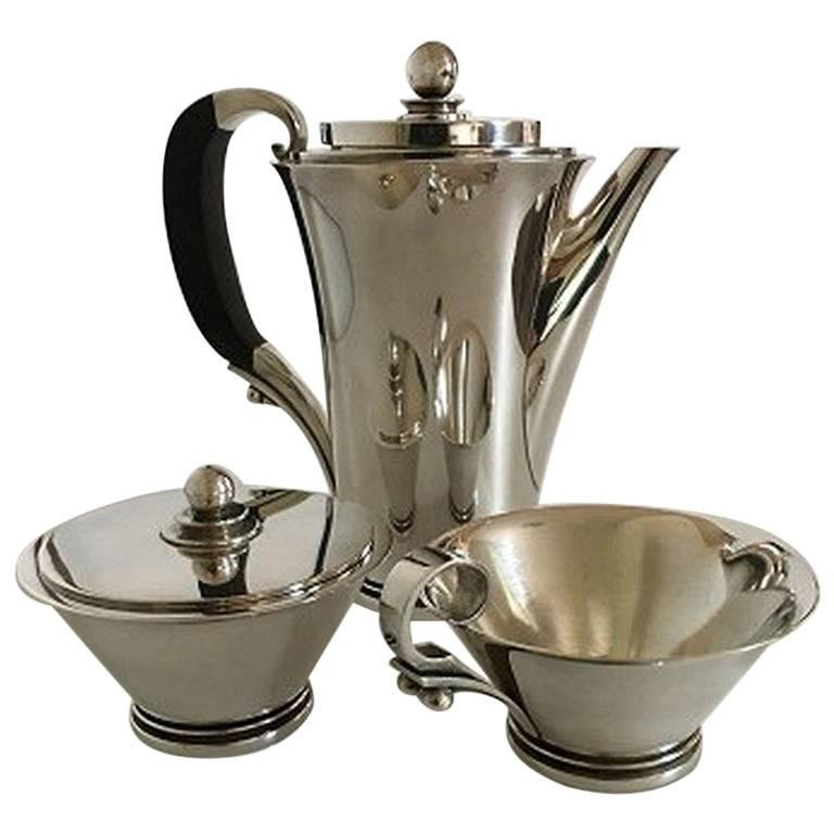 "Georg Jensen ""Pyramid"" Sterling Silver Coffee Set No. 600 B"