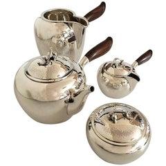 Georg Jensen Sterling Silver Tea Set No. 875. Teapot, Water Pitcher, Creamer