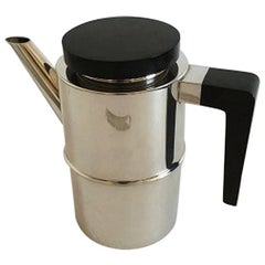 Georg Jensen Sterling Silver S.G.J. Coffee Pot with Wooden Handle and Lid #1143