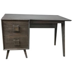Mid-Century Modern Ebonized Ash Single Pedestal Desk