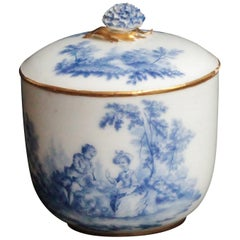 Vincennes Sugar Bowl and Cover, Decoration in Blue Shade, circa 1752
