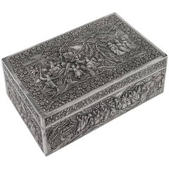 Antique Chinese Solid Silver Battle Scene Box, Gan Qing He, circa 1860