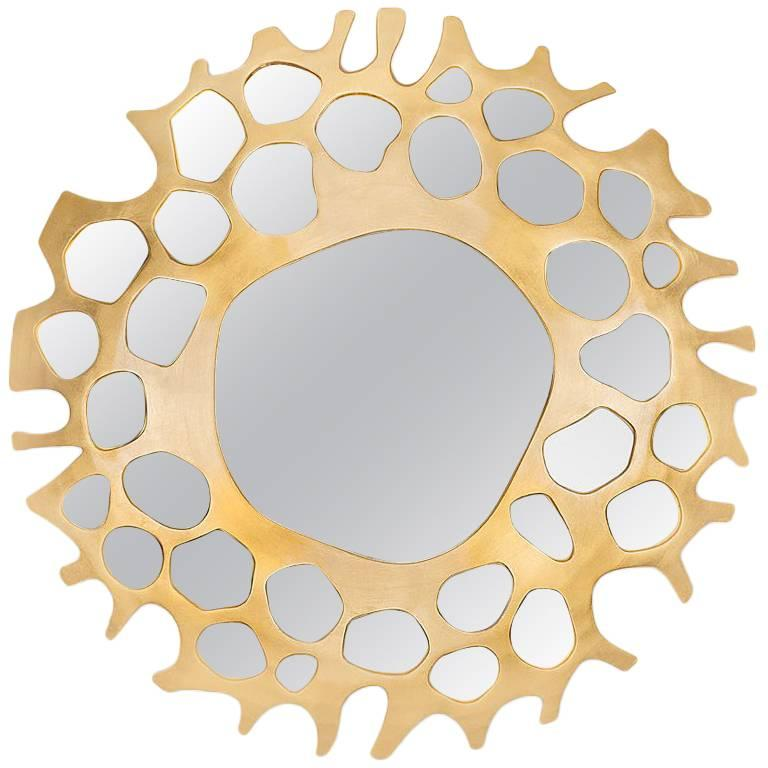 Gold Pearl Mirror with Gold Leaf