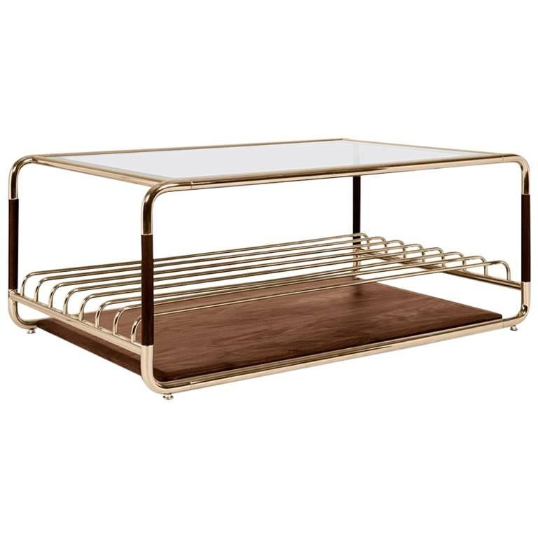 Goldfinger Coffee Table With Polished Brass And Solid